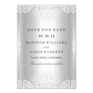 Silver Vintage Glamour Wedding Save The Date Card