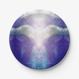 Silver Violet Angel Paper Plate