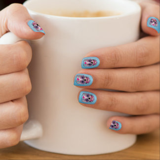 Silver W/ Lt Blue Stripes Rose Candy Skull Nails Minx Nail Art