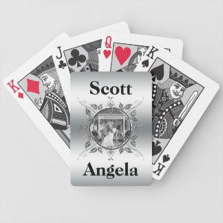 Silver Wedding Anniversary Photo Elegant Monogram Bicycle Playing Cards