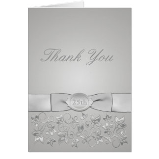 Silver Wedding Anniversary Thank You Card Cards