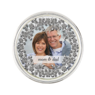 Silver Wedding Anniversary with a photo Lapel Pin