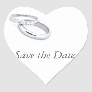 Silver Wedding Bands Save the Date Heart Sticker