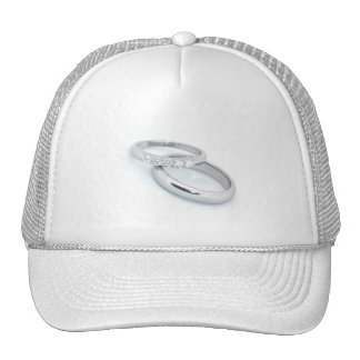 Silver Wedding Bands Save the Date Mesh Hat