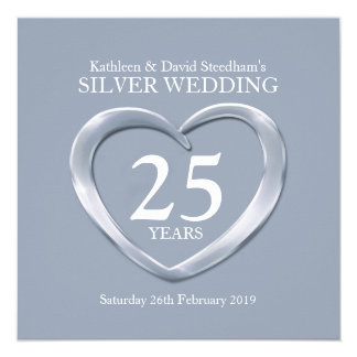 Silver wedding heart 25 years anniversary invite