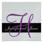 Silver Wedding Invitation Monogram H Names Purple