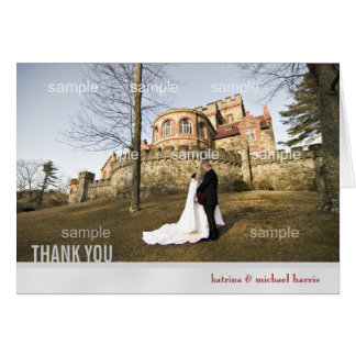 Silver Wedding Photo Thank You Card
