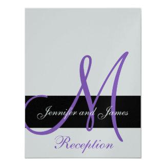 Silver Wedding Reception Purple Monogram Names 11 Cm X 14 Cm Invitation Card