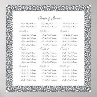 Silver wedding seating charts border poster