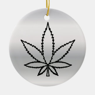 silver weed christmas ornament