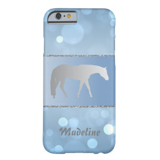 Silver Western Pleasure Horse on Blue Brokeh Barely There iPhone 6 Case
