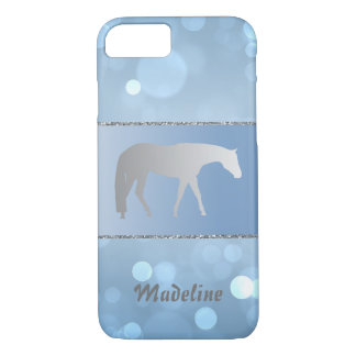 Silver Western Pleasure Horse on Blue Brokeh iPhone 8/7 Case
