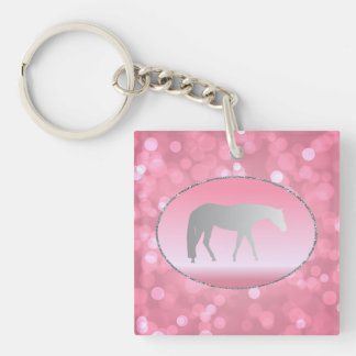 Silver Western Pleasure Horse on Pink Brokeh Double-Sided Square Acrylic Key Ring