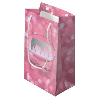 Silver Western Pleasure Horse on Pink Brokeh Small Gift Bag