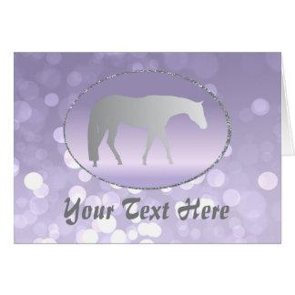 Silver Western Pleasure Horse on Purple Brokeh Card