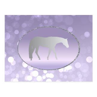 Silver Western Pleasure Horse on Purple Brokeh Postcard