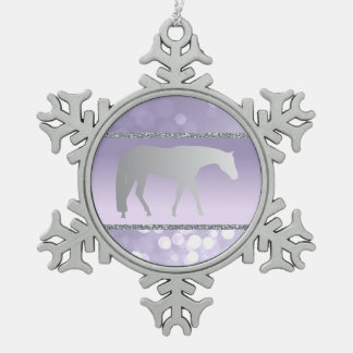 Silver Western Pleasure Horse on Purple Brokeh Snowflake Pewter Christmas Ornament