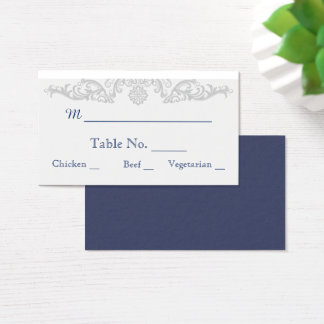 Silver White and Navy Damask Wedding Place Cards
