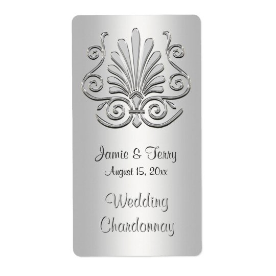 Silver White Art Deco Damask Party Wine Label 2