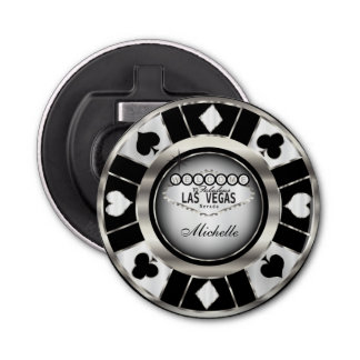 Silver, White, Black Poker Chip  - Personalize Bottle Opener