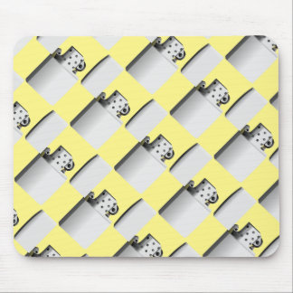 Silver-white cigarette lighter. Yellow background Mouse Mat