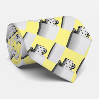 Silver- white cigarette lighter. Yellow background Tie