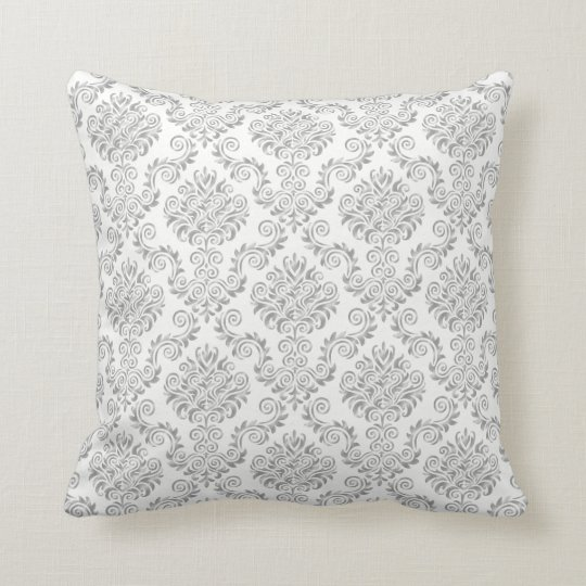 Silver & White Damask Pattern{pick your colour} Cushion