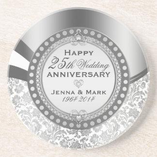 Silver & White Damasks 25 Wedding Anniversary Beverage Coasters