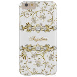 Silver White Gold Diamond Jewel Floral Barely There iPhone 6 Plus Case