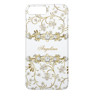 Silver White Gold Diamond Jewel Floral iPhone 7 Plus Case