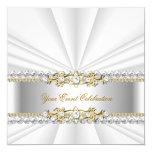 Silver White Gold Elegant Birthday Party 13 Cm X 13 Cm Square Invitation Card