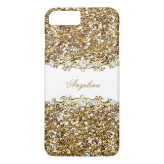 Silver White Gold Faux Diamond Jewel Glitter iPhone 7 Plus Case