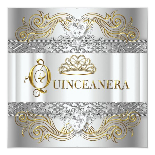 Silver White Gold Quinceanera Birthday Party Card