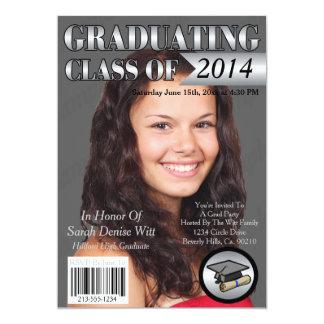 Silver & White Graduating Class Magazine Cover 13 Cm X 18 Cm Invitation Card