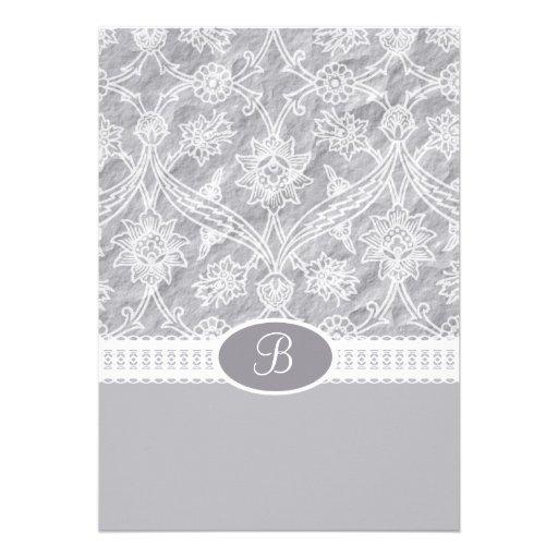 Silver White Lace Monogram Wedding Invitation