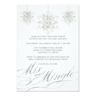 Silver & White Ornament Holiday Party Invitations