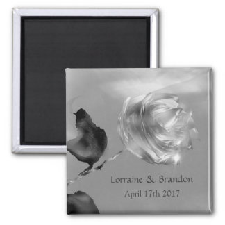 Silver white rose Save the Date Square Magnet