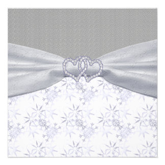 Silver White Stars Snowflakes Wedding Personalized Announcements