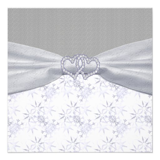 Silver, White Stars & Snowflakes Wedding Personalized Announcements