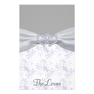 Silver, White Stars & Snowflakes Wedding Stationery