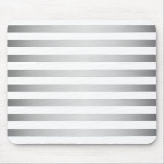 Silver White Stripes Mouse Pad