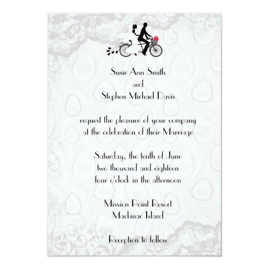 Silver White Tandem Bicycle Wedding Invitation