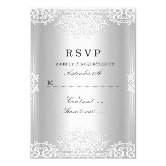 Silver White Vintage Glamour RSVP Card