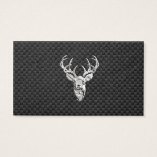 Silver Wild Deer on Carbon Fiber Style Decor Business Card