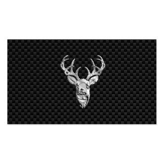Silver Wild Deer on Carbon Fiber Style Decor Pack Of Standard Business Cards