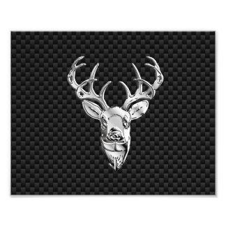 Silver Wild Deer on Carbon Fiber Style Decor Photographic Print