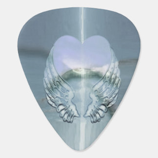 Silver Wings Wrapped Around a Heart Plectrum