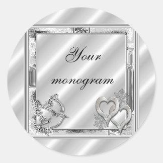 Silver Winter Holiday Wedding Envelope Seals Label Classic Round Sticker