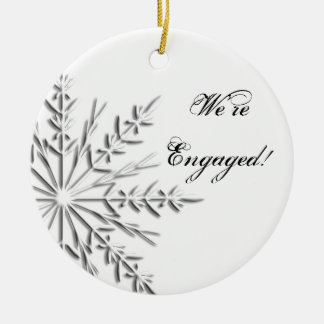 Silver Winter Snowflake Engagement Christmas Ornament