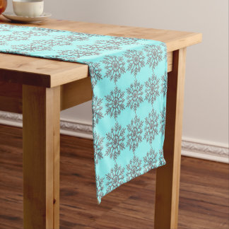 Silver Winter Snowflake Pattern Short Table Runner
